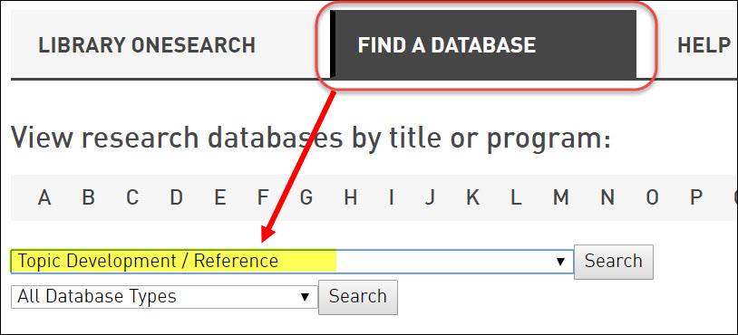 "Topic Development/Reference selected in Subject drop-down menu on library ""Find a Database"" tab."